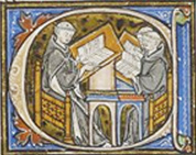 Historiated initial D, Isidore lecturing to two monks, LJS 184, f. 1r (detail)
