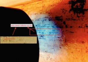 Date on pastedown under UV light, LJS 184